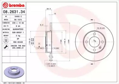 Тормозной диск на VOLKSWAGEN DERBY 'BREMBO 08.2631.34'.