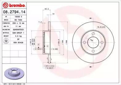 Тормозной диск 'BREMBO 08.2794.14'.