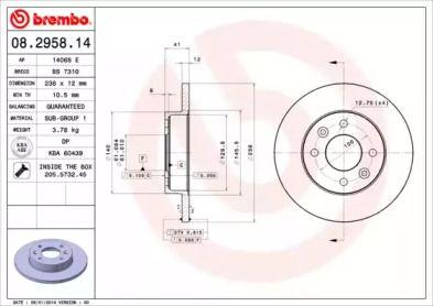Тормозной диск на Рено Логан 'BREMBO 08.2958.14'.