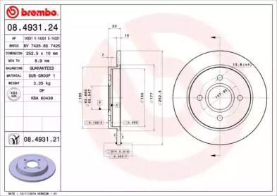 Тормозной диск 'BREMBO 08.4931.21'.