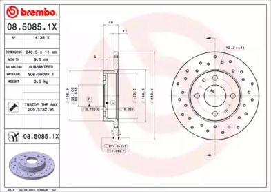 Перфорированный тормозной диск BREMBO 08.5085.1X.