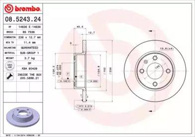 Тормозной диск на SKODA FELICIA 'BREMBO 08.5243.24'.