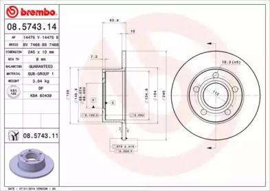 Тормозной диск 'BREMBO 08.5743.11'.