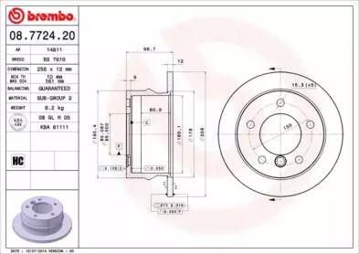 Тормозной диск на MERCEDES-BENZ G-CLASS 'BREMBO 08.7724.20'.