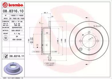 Тормозной диск на HYUNDAI SANTAMO 'BREMBO 08.8316.10'.