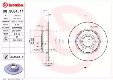 Тормозной диск на Ауди Олроуд 'BREMBO 08.9084.11'.