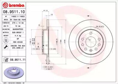 Тормозной диск на CADILLAC BLS 'BREMBO 08.9511.10'.