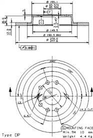 Тормозной диск на Кадиллак Блс 'BREMBO 08.9511.11'.
