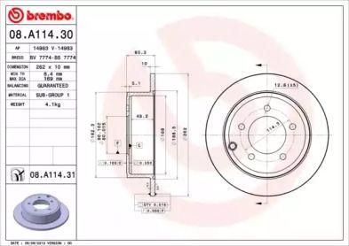 Тормозной диск на Джип Компасс 'BREMBO 08.A114.31'.