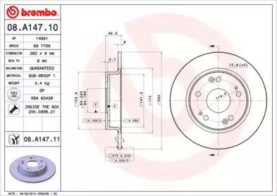Тормозной диск 'BREMBO 08.A147.10'.