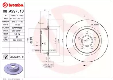 Тормозной диск на Форд Транзит Конект 'BREMBO 08.A297.10'.