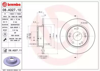 Тормозной диск BREMBO 08.A327.11.