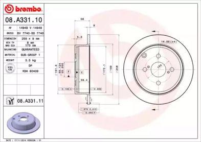 Гальмівний диск 'BREMBO 08.A331.11'.