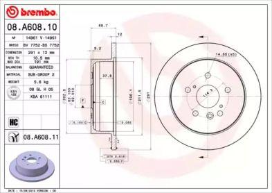Тормозной диск на Тайота Альфард 'BREMBO 08.A608.11'.