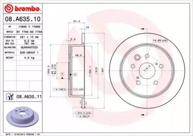 Тормозной диск на Лексус Ис 'BREMBO 08.A635.11'.