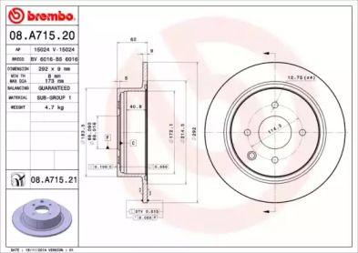 Тормозной диск на Ниссан Куб 'BREMBO 08.A715.20'.