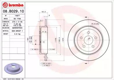 Тормозной диск на Додж Неон 'BREMBO 08.B029.10'.