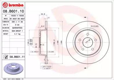 Тормозной диск на FORD GRAND C-MAX 'BREMBO 08.B601.10'.