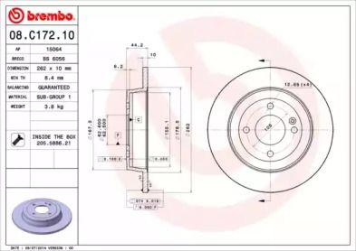 Тормозной диск на Киа Рио 'BREMBO 08.C172.10'.