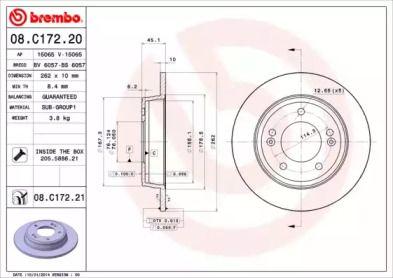 Тормозной диск на KIA CERATO KOUP 'BREMBO 08.C172.20'.