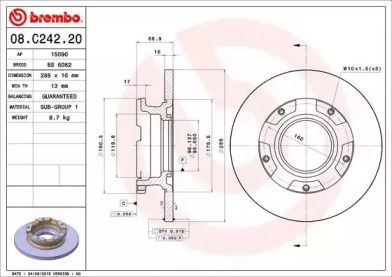 Тормозной диск на Форд Турнео Кастом 'BREMBO 08.C242.20'.