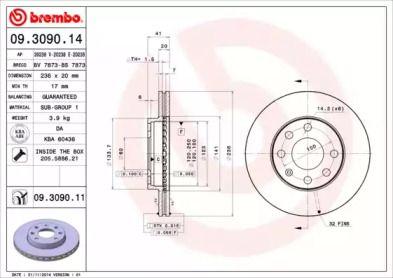 Вентилируемый тормозной диск 'BREMBO 09.3090.14'.