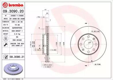 Вентилируемый тормозной диск 'BREMBO 09.3090.20'.