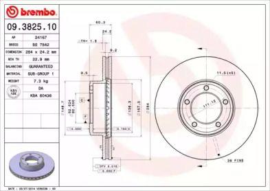 Вентилируемый тормозной диск на JAGUAR XJSC 'BREMBO 09.3825.10'.
