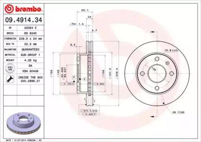 Вентилируемый тормозной диск 'BREMBO 09.4914.34'.