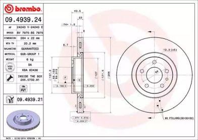 Вентилируемый тормозной диск на ALFA ROMEO 147 'BREMBO 09.4939.24'.