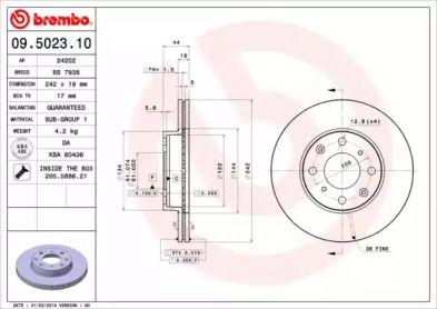 Вентилируемый тормозной диск на ACURA INTEGRA 'BREMBO 09.5023.10'.
