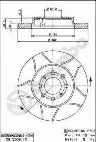 Вентилируемый тормозной диск с насечками на Ровер 45 'BREMBO 09.5509.75'.
