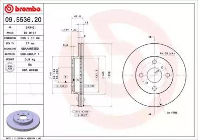 Вентилируемый тормозной диск на TOYOTA STARLET 'BREMBO 09.5536.20'.