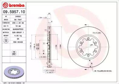 Вентилируемый тормозной диск на Мазда Б серия 'BREMBO 09.5957.10'.
