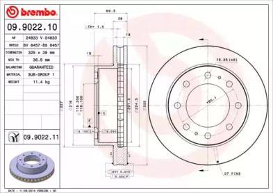 Вентилируемый тормозной диск на CHEVROLET SUBURBAN 'BREMBO 09.9022.11'.