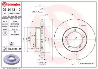 Вентилируемый тормозной диск на LEXUS LX 'BREMBO 09.9143.10'.