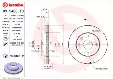 Вентилируемый тормозной диск на Шевроле Такума 'BREMBO 09.9483.11'.