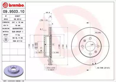 Вентилируемый тормозной диск на Хендай Ай10 'BREMBO 09.9503.10'.