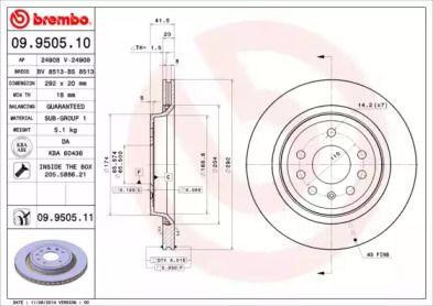 Вентилируемый тормозной диск на Кадиллак Блс 'BREMBO 09.9505.11'.