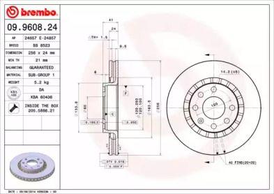 Вентилируемый тормозной диск на Дэу Эсперо 'BREMBO 09.9608.24'.
