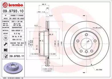 Вентилируемый тормозной диск на БМВ 2 'BREMBO 09.9793.11'.
