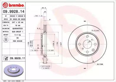 Вентилируемый тормозной диск на CITROEN C1 'BREMBO 09.9928.14'.