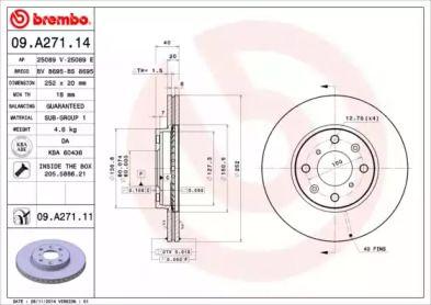 Вентилируемый тормозной диск на OPEL AGILA 'BREMBO 09.A271.14'.