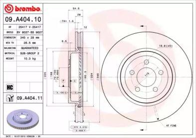 Вентилируемый тормозной диск на Крайслер 300С 'BREMBO 09.A404.11'.