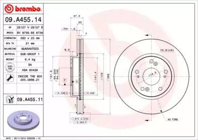 Вентилируемый тормозной диск на HONDA FR-V 'BREMBO 09.A455.14'.