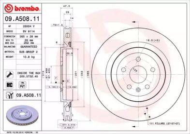 Вентилируемый тормозной диск на Шевроле Камаро 'BREMBO 09.A508.11'.