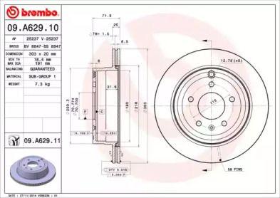 Вентилируемый тормозной диск на Шевроле Каптива 'BREMBO 09.A629.10'.