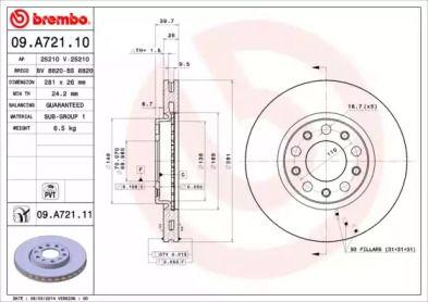 Вентилируемый тормозной диск на JEEP RENEGADE 'BREMBO 09.A721.11'.