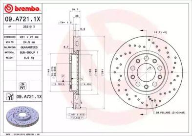 Тормозной диск на Джип Ренегат 'BREMBO 09.A721.1X'.