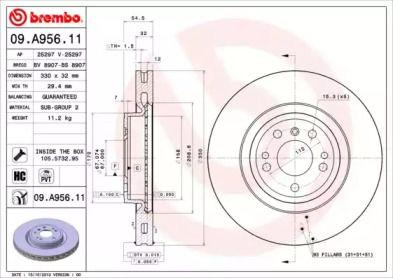 Вентилируемый тормозной диск на MERCEDES-BENZ GLE 'BREMBO 09.A956.11'.